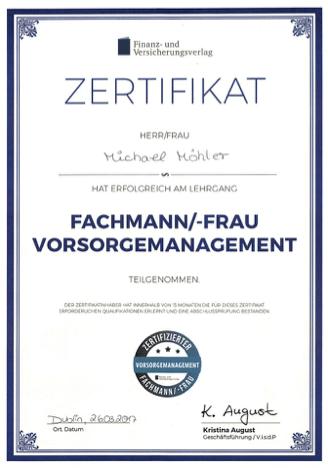 Zertifikat-Fachmann Vorsorgemanagement